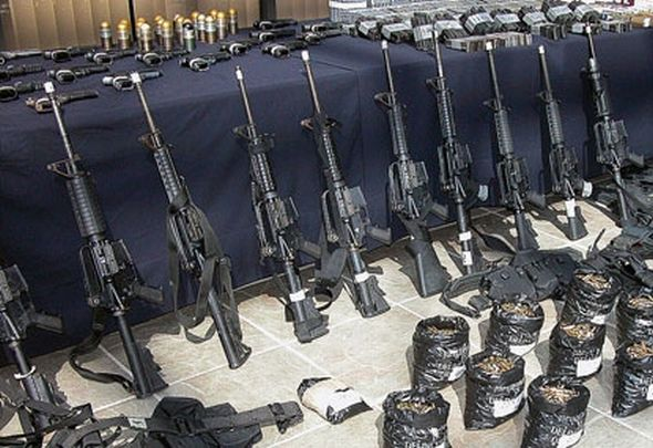 Weapons seized in March 2010 by Mexican military police from La Familia Michoacana Cartel, more commonly known as La Familia, a Mexican drug trafficking organization and criminal syndicate.