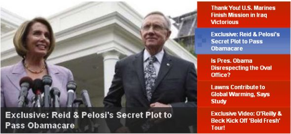 Fox Nation headline: Exclusive: Reid & Pelosi's Secret Plot to Pass Obamacare