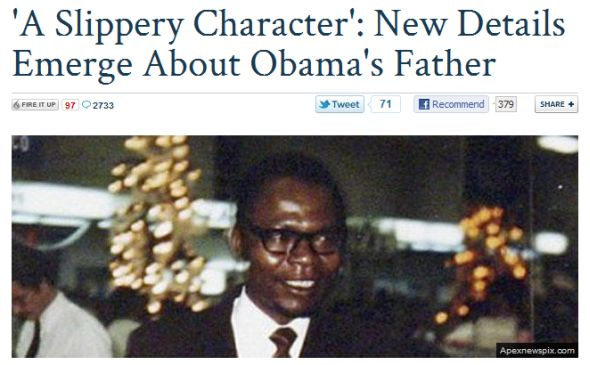 "Fox Nation hyped a Daily Mail article suggesting Obama's father was a ""slippery character"" because of his interracial marriage."