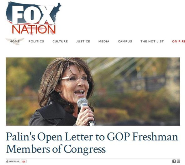 Palin letter on Fox Nation